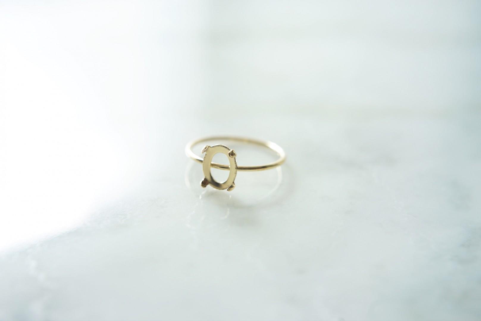 14kgf指輪石枠-カボション4本爪-オーバル8x6mm