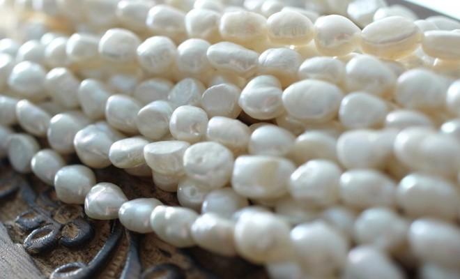 淡水パール真珠ビーズ (バロックパール8mm/ホワイト系)