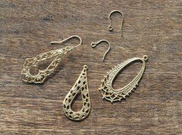 14kgfフックピアス金具×真鍮ブラス アクセサリーパーツ フィリグリー コンポーネント